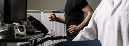 tests: Shot of a sportsman during a cardiac stress test