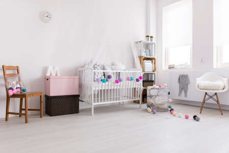 room wall: Shot of a spacious modern baby room