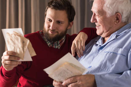 incurable: Image of memories and parental love of father to son Stock Photo