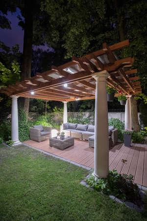yard: Beautiful and illuminated back yard of the house