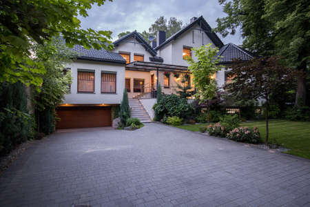 tasteful: Light and tasteful front yard of the house