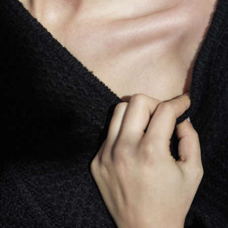 collarbone: Close-up of young skinny girl with visible collarbone