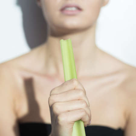 complexes: Picture of skinny girl with complexes during restricted diet