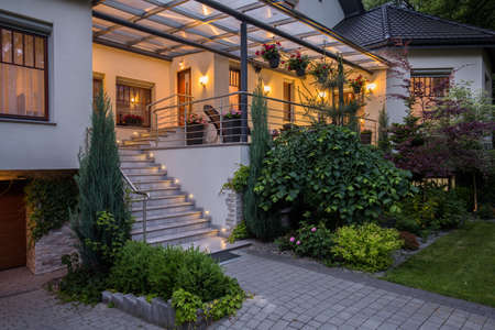 Image of main entry with stairs to luxurious house Archivio Fotografico