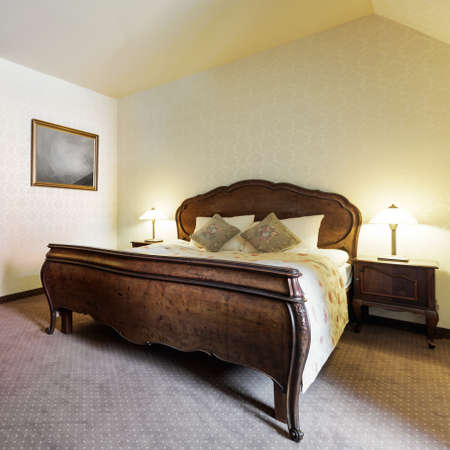 bedroom design: Picture of stylish bedroom in retro design