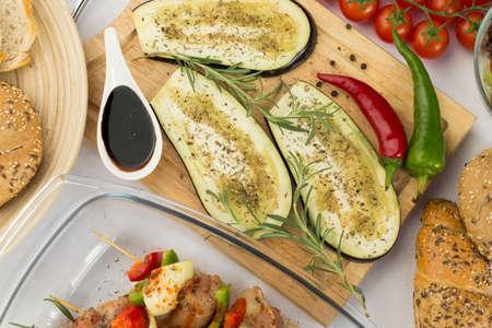 aubergine: Close-up of tasty aubergine prepared for grill Stock Photo