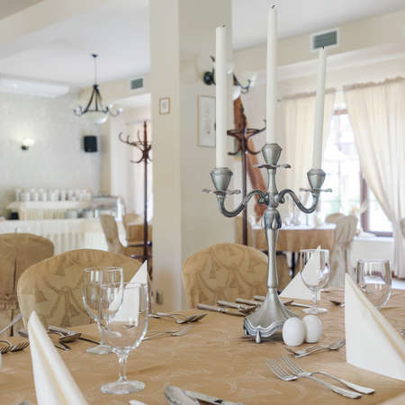 classy: Luxurious classy hotel dining room interior in light colours