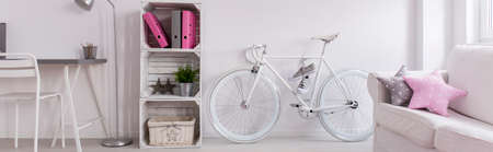 bike cover: Shot of a new pink and gray living room