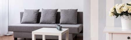 Grande comodo divano grigio e tavolino in legno nel moderno nuova sala