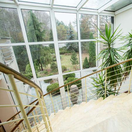 expensive house: View of marble staircase inside expensive house