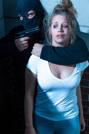 great danger: Young terrified girl is in great danger