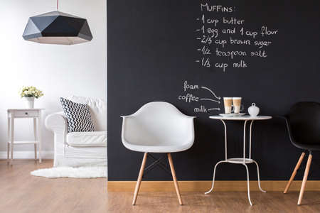 modern apartment: Shot of a modern room with a blackboard wall