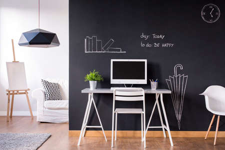 wall decoration: Shot of a modern black and white apartment
