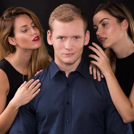 narcissistic: Love triangle - seductive women tempting handsome man