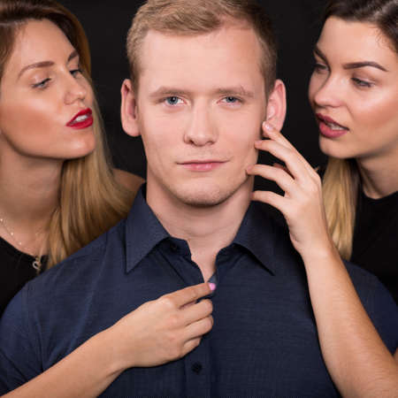 narcissism: Horizontal view of emotional and love triangle Stock Photo