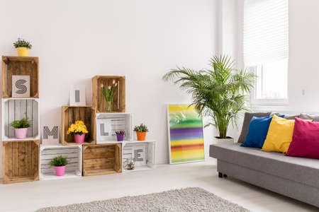 cosy: Shot of a cosy modern living room full of light Stock Photo