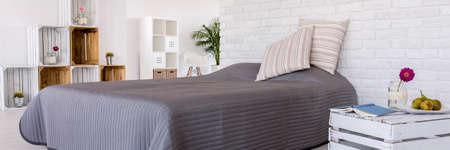 cosy: Panoramic picture of a modern cosy bedroom Stock Photo