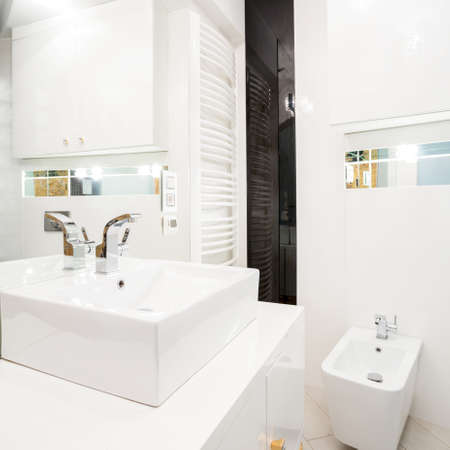 bathroom interior: Interior of white bathroom with porcelain elements Stock Photo