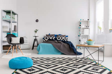 cosy: Shot of a modern cosy and spacious bedroom Stock Photo