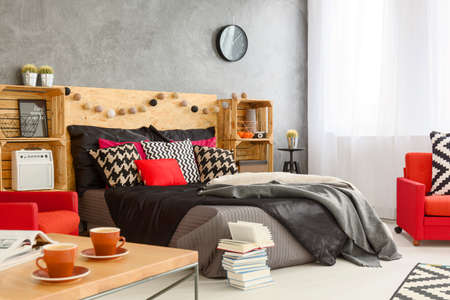 bedroom design: New design bedroom in grey with red details and wood furniture