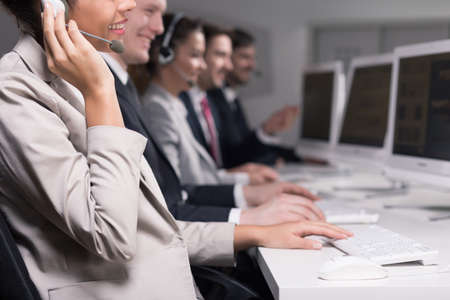 Cropped picture of smiling consultants