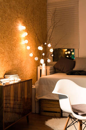 cosy: Shot of a small comfortable cosy bedroom Stock Photo