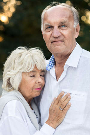 deeply: Senior couple deeply in love after many years of marriage