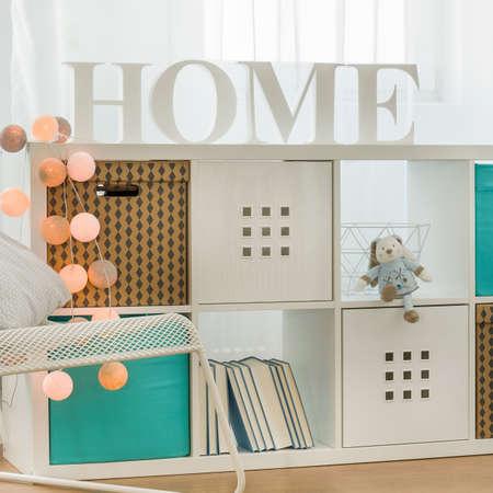 wood room: White kids shelf in cozy modern room