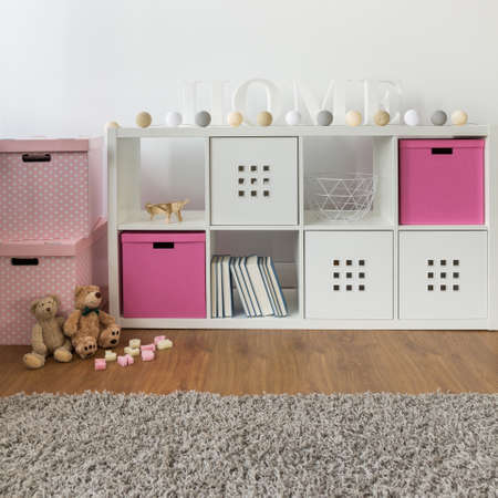 commode: Commode with rose boxes in childs room