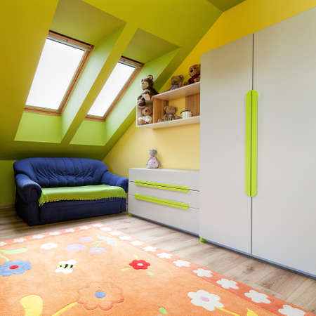 urban apartment: Urban apartment - green and yellow childs room Stock Photo
