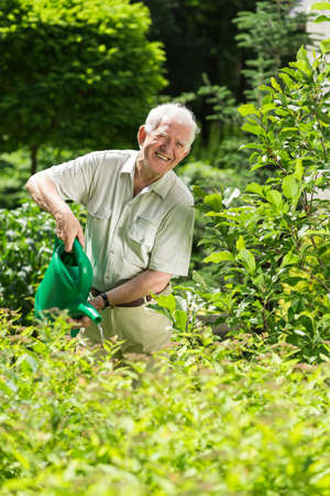 hobbyist: Elderly man with a watering can in the garden Stock Photo
