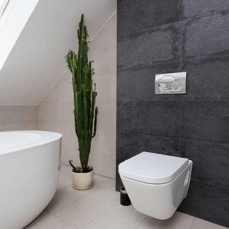 urban apartment: Urban apartment - white toilet in grey bathroom