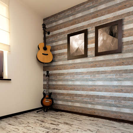 urban apartment: Urban apartment - brown office with two guitars
