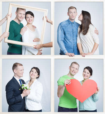 thorough: Happy young couple going thorough whole life together. Pictures of wedding and pregnancy