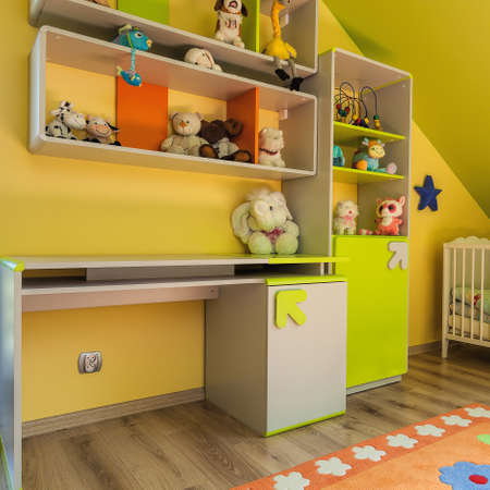 urban apartment: Urban apartment - green and yellow baby room