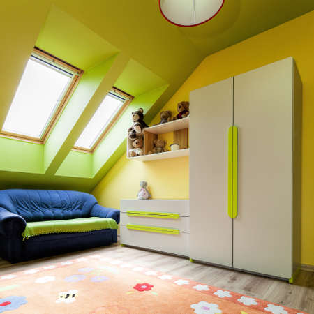 urban apartment: Urban apartment - colorful room on the attic