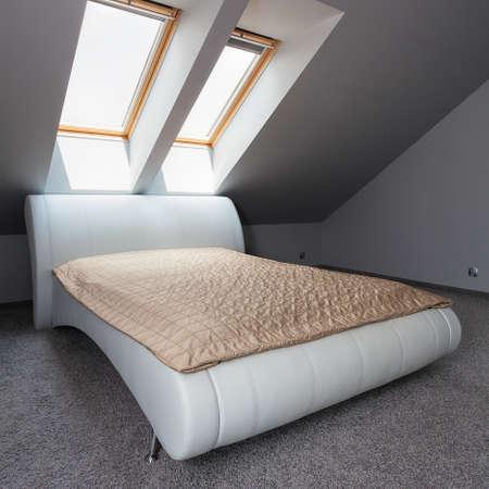 luxury apartment: Urban apartment - modern luxury bed in bedroom Stock Photo