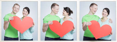 mate married: Three photos of happy young couple in love holding red paper heart. Hugging and laughing together Stock Photo