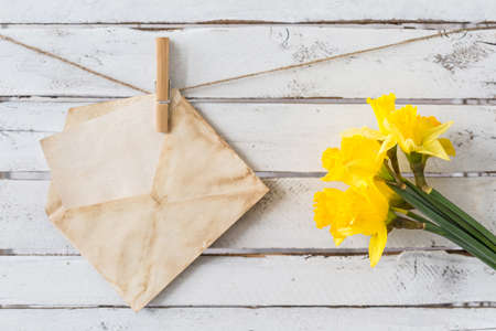 rustical: Card in yellowed envelope and bouquet of yellow daffodils, white rustical planks in the background