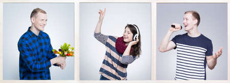 soul mate: Smiling young people with passion to music. Woman listening music on headphones and man singing song to microphone