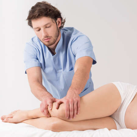lymphatic drainage therapy: Lymphatic drainage massage therapy in the pregnancy Stock Photo