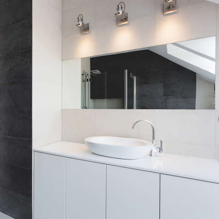 vessel sink: Urban apartment - bath counter, sink and mirror