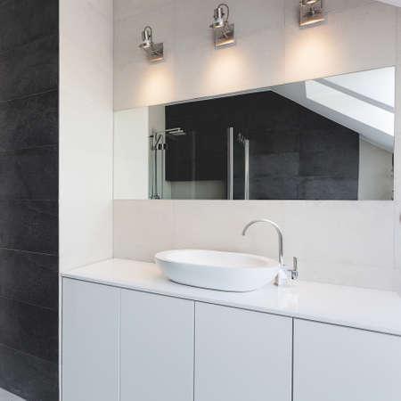urban apartment: Urban apartment - bath counter, sink and mirror