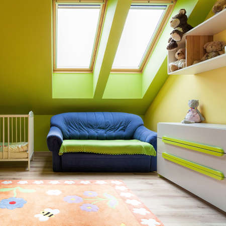 attic: Urban apartment - sweet colorful room on the attic