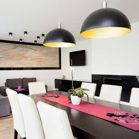 apartment living: Urban apartment - Modern living room connected with dining room Stock Photo