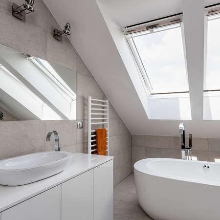 urban apartment: Urban apartment - bright interior of bathroom on the attic