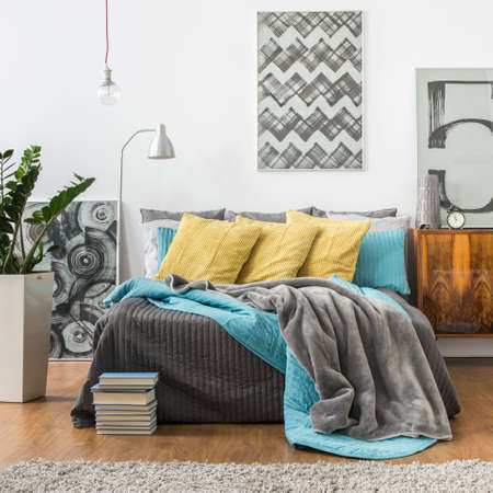 bedspread: Picture of cozy bedroom in modern style