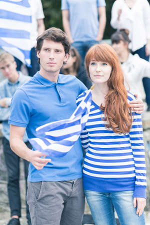 insurgency: Vertical view of Greeks manifesting on the street