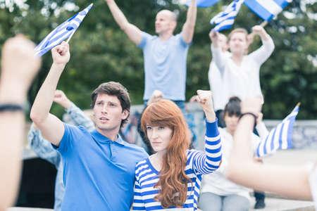 manifest: Street manifestation - Greek protesting against European Union