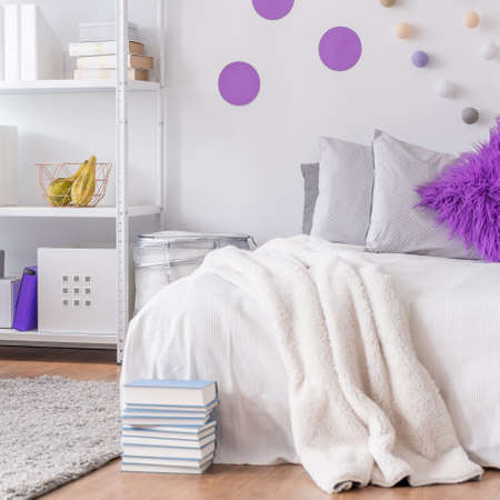 bedroom wall: Image of cosy bedroom with decorative wall Stock Photo